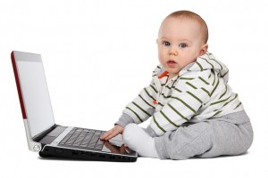 Baby using a Laptop Computer