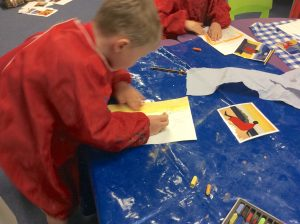 pupils colouring in