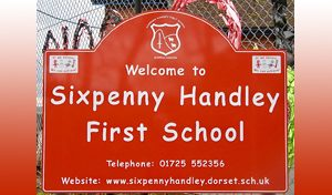 Sixpenny Handley school sign