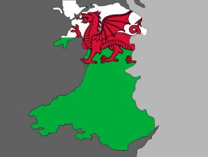 Wales with Dragon Background