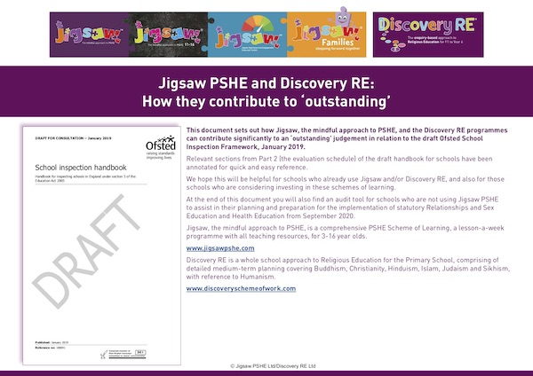 Jigsaw PSHE and Discovery RE: How they contribute to an Ofsted 'outstanding'