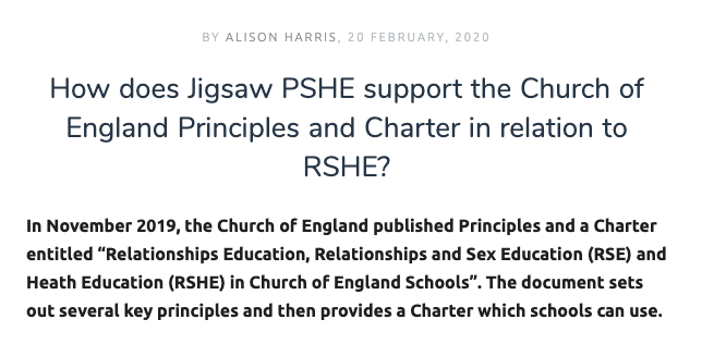 How Jigsaw PSHE supports the Church of England Principles and Charter in relation to RSHE