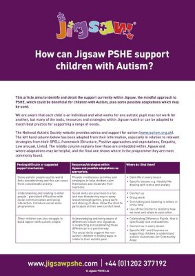 How can Jigsaw support children with autism (article preview image)